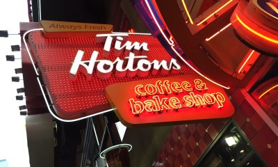 Lit signage of Tim Hortons Coffee & Bake Shop
