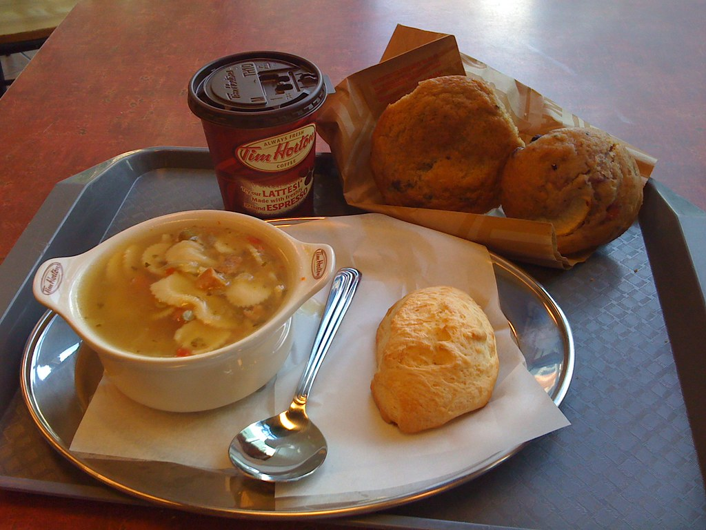 Soup, bread and coffee from Tim Hortons on a table