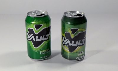 two cans of vault soda