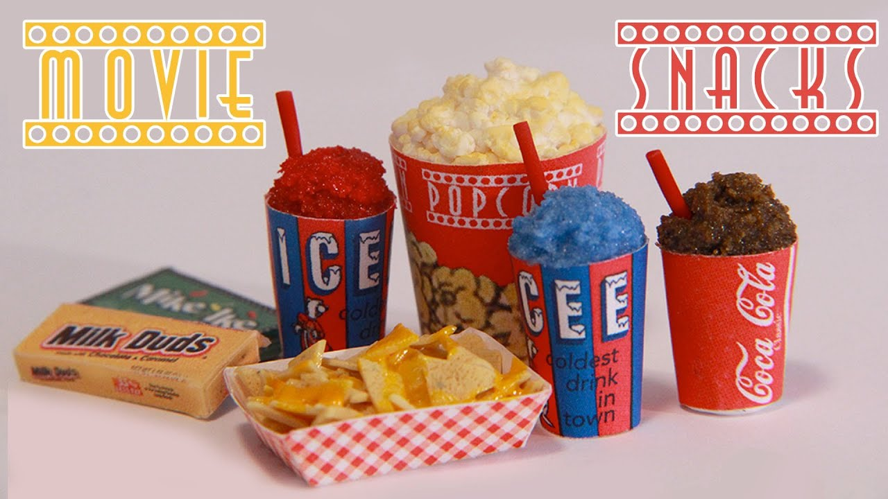 icee, popcorn, nachos and candy