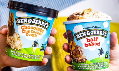 Two pints of Ben & Jerry's ice creams: Chocolate Chip Cookie Dough and Half Baked