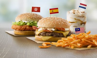 Four international McDonald's food items with their country's flag
