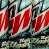 Cans of MTN Dew Baja Blast