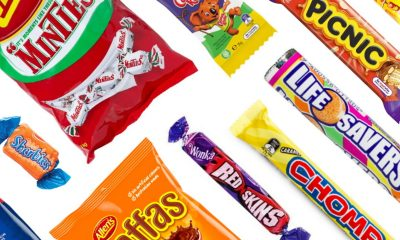 Various candies on a white background.