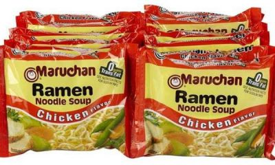 Chicken-flavored Maruchan ramen noodles