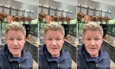 Gordon Ramsay Triple Selfie with Hanging Pots in Background of Kitchen