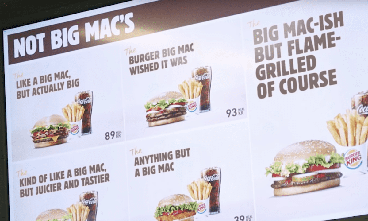 Burger King's Not Big Mac Menu