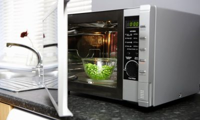 Microwave Oven on Kitchen Counter with Door Ajar Showing Grapes Inside