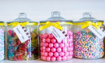 The image above shows jars of brightly colored candies.