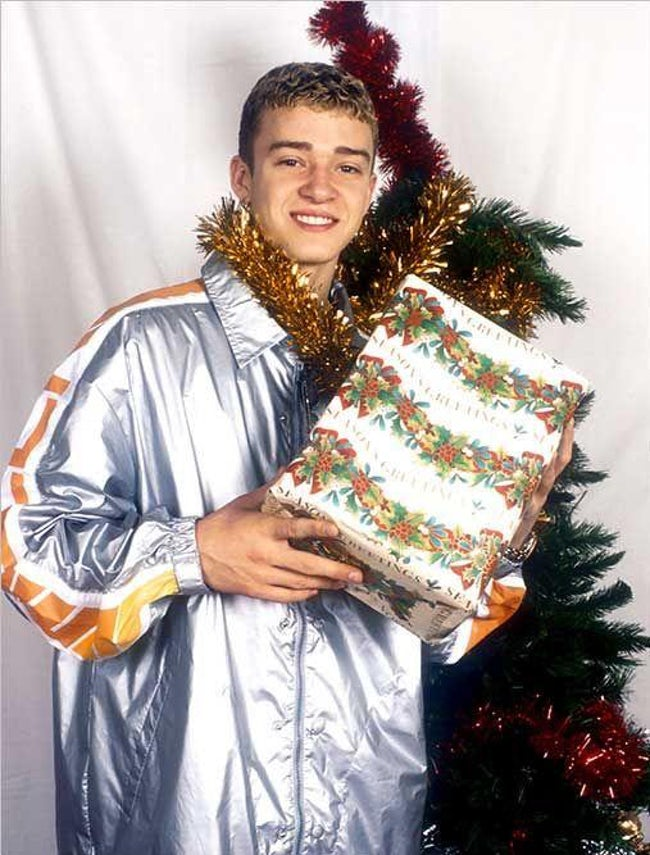 awkward xmas photos celebrities 5 young justin timberlake